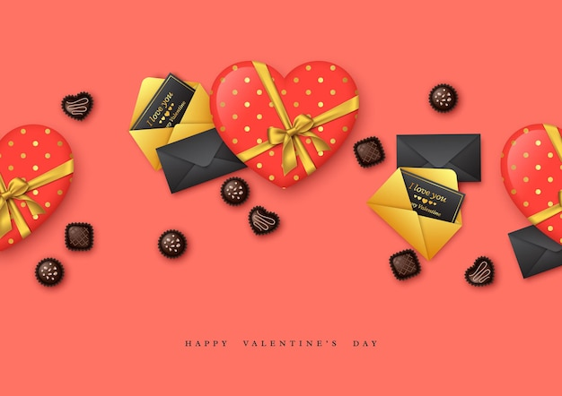 Vacanze di san valentino. cuore 3d con fiocco dorato e dolci al cioccolato, cartoline di auguri.