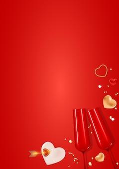 Progettazione realistica del fondo della carta del regalo di festa di san valentino