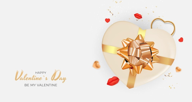 Fondo della carta regalo di festa di san valentino realistico.