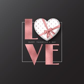 Vacanze di san valentino. parola glitter amore con effetto lamina e cuore 3d.