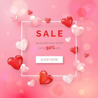 Offerta vacanza di san valentino. banner web con cornice bianca decorata con cuori.