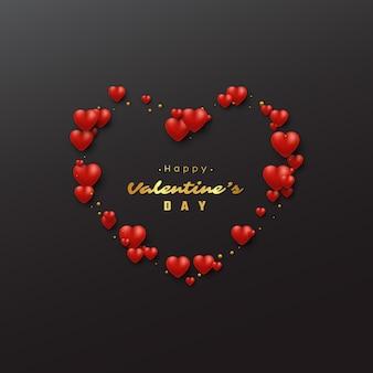 Vacanze di san valentino con cuori 3d.