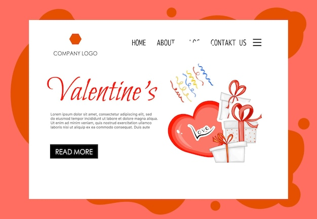 Modello di home page di san valentino. stile cartone animato. illustrazione vettoriale.