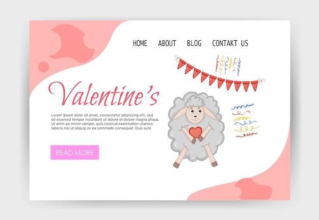 Modello di home page di san valentino con una pecora carina. stile cartone animato. illustrazione vettoriale.