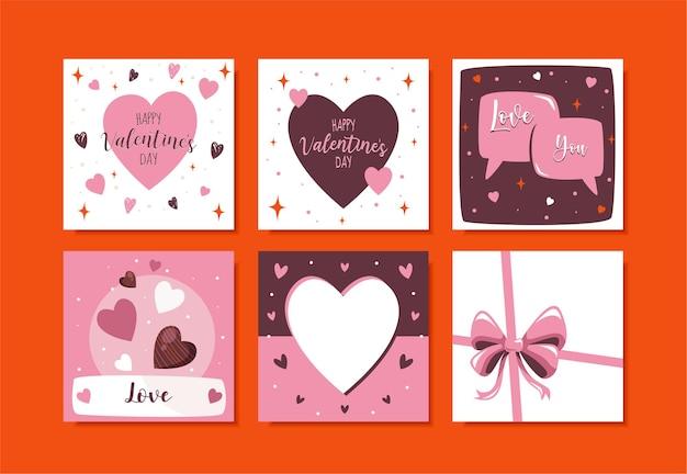 Set di post di instagram di san valentino
