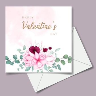 Carta di invito di san valentino con bellissimo fiore di magnolia