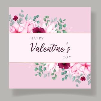 Carta di invito di san valentino con bellissimo fiore di magnolia Vettore Premium