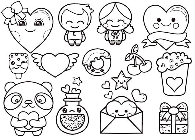 Set di icone di kawaii di san valentino Vettore Premium