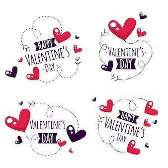 Concetto di raccolta di etichette di san valentino