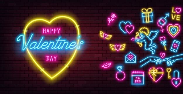 Insegna al neon di san valentino sul fondo del muro di mattoni scuri e insegne al neon luminose.