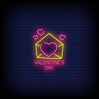 Testo di stile delle insegne al neon di san valentino