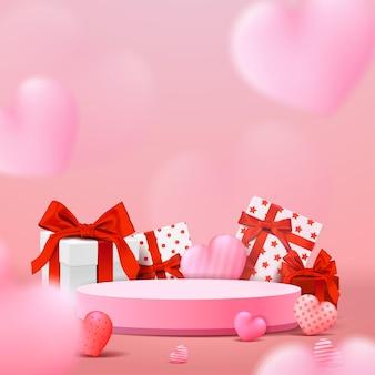 Display sul podio di san valentino. presentazione del prodotto allo stand. stile realistico 3d.