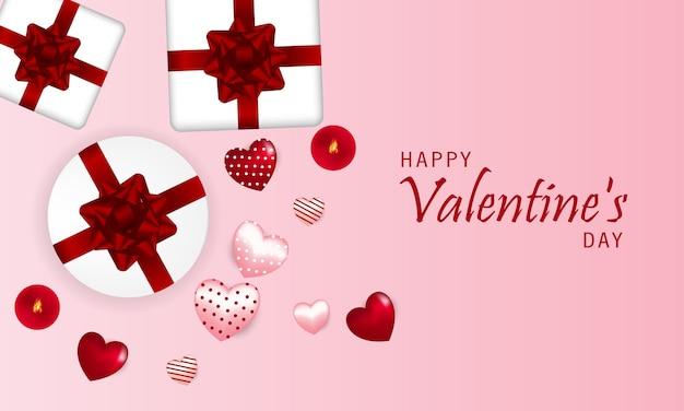 San valentino, cartolina, cuori realistici e regali, illustrazione