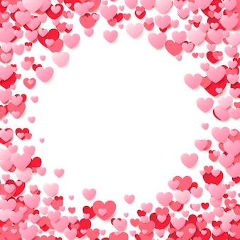 Poster di san valentino con cuori rossi e rosa. sfondo.