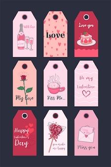 Collezione di tag stampabili di san valentino. set festivo di adesivi.