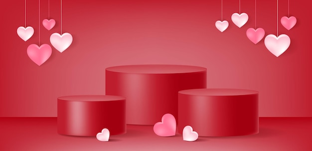 San valentino, esposizione del prodotto, podio, forma di cuore