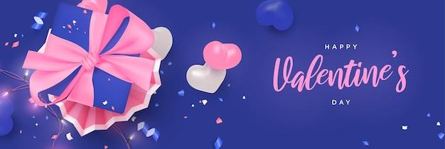 Banner piatto realistico di san valentino con luci incandescenti, cuori decorativi e confezione regalo