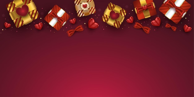 Scatole regalo realistiche di san valentino e cuori rossi
