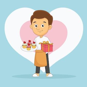 San valentino, amante romantico che fa cupcakes per regalo