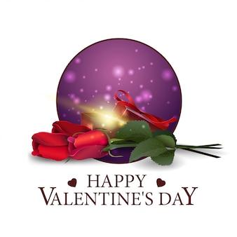 Banner rotondo di san valentino con regalo e fiori