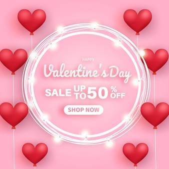 Banner di vendita di san valentino. vendita fino al 50%.