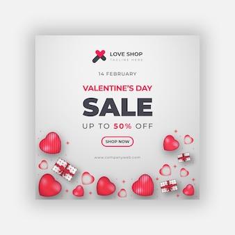 Banner di vendita di san valentino o modello di post sui social media