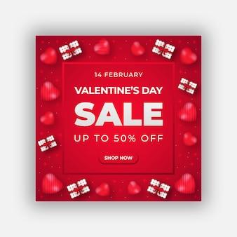 Banner di vendita di san valentino o modello di post sui social media Vettore Premium