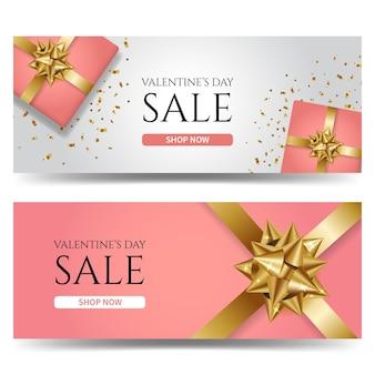 Modello di banner di vendita di san valentino decorato con scatola regalo rosa