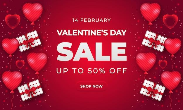 Modello di banner di vendita di san valentino con cuore e confezione regalo