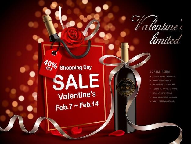 Banner di vendita di san valentino, bottiglia di vino con nastri in sacchetto di carta rosso isolato