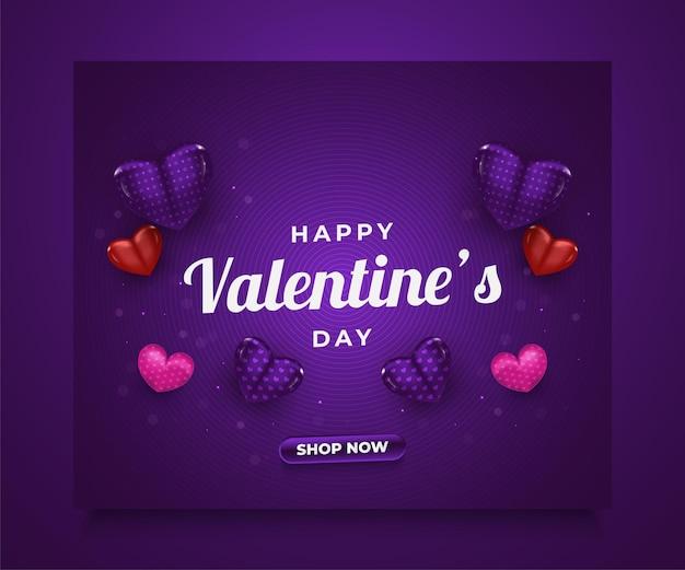 Banner di vendita di san valentino con cuori colorati 3d sparsi