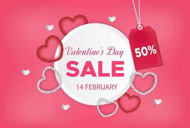 Banner di vendita di san valentino con etichetta di sconto