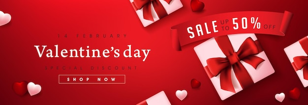 Banner di vendita di san valentino con confezione regalo e cuore.