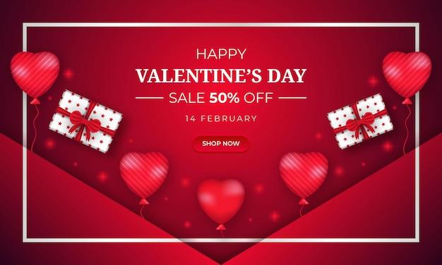 Banner di vendita di san valentino con scatola regalo e cuore