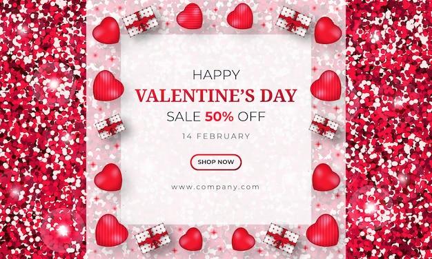 Banner di vendita di san valentino con glitter