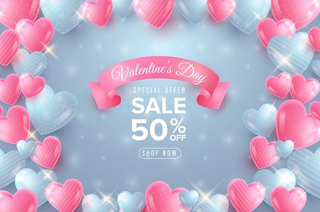 Banner di vendita di san valentino con cuore blu e rosa