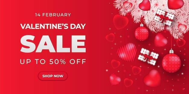 Banner di vendita di san valentino con cuore e confezione regalo