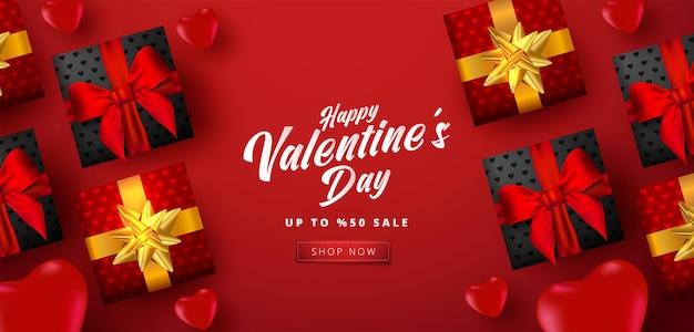 Banner di vendita di san valentino con molti cuori dolci