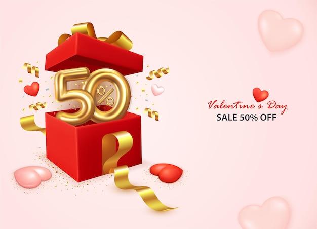 Banner di vendita di san valentino con confezione regalo aperta