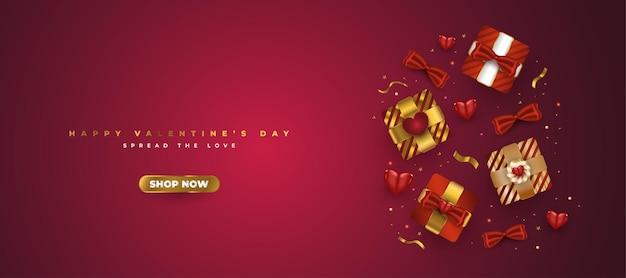 Banner di vendita di san valentino con confezione regalo realistica e coriandoli dorati glitterati