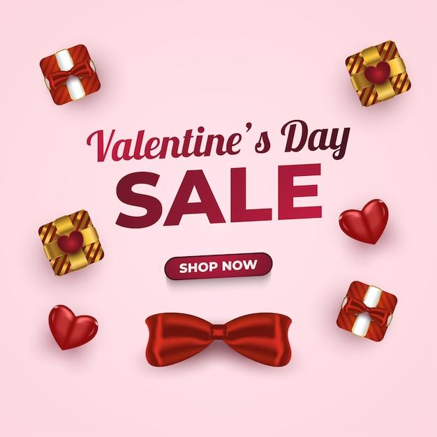 Banner di vendita di san valentino con scatola regalo realistica e cuori