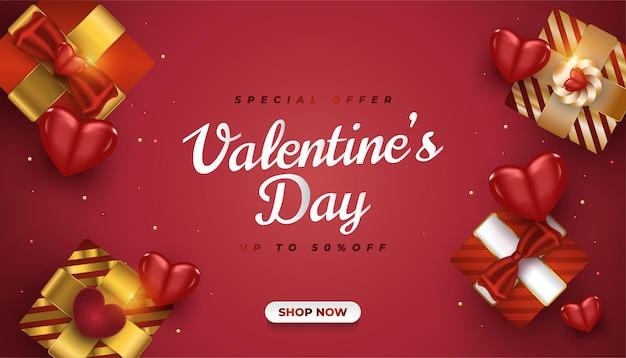 Banner di vendita di san valentino con scatole regalo realistiche e cuori 3d