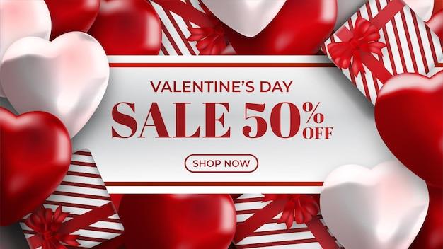 Banner di vendita di san valentino con cuori e confezione regalo