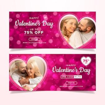 Banner di vendita di san valentino con pacchetto di foto