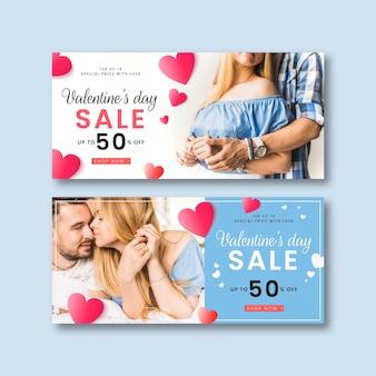Banner di vendita di san valentino con foto