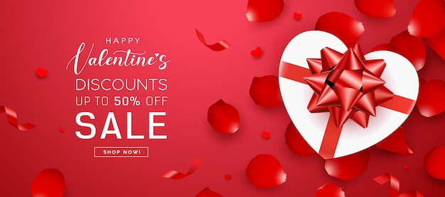 Vendita di san valentino, fiocco rosso a forma di cuore con scatola regalo