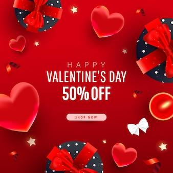 Banner promozionale di vendita di san valentino. cuori volanti realistici 3d, scatole regalo, fiocco, nastri e testo di calligrafia
