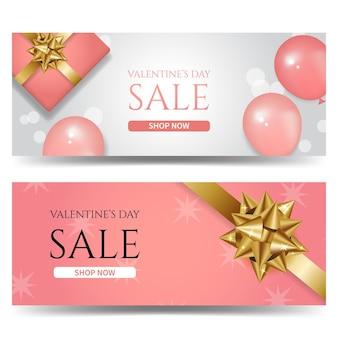 Modello di banner promozionale di vendita di san valentino decorato con palloncini realistici