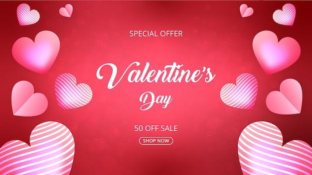 Promozione di vendita di san valentino e sfondo dello shopping o banner con cuori dolci su rosa e rosso.