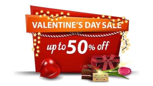 Saldi di san valentino, fino al 50% di sconto, bandiera rossa in stile cartone animato con ghirlanda